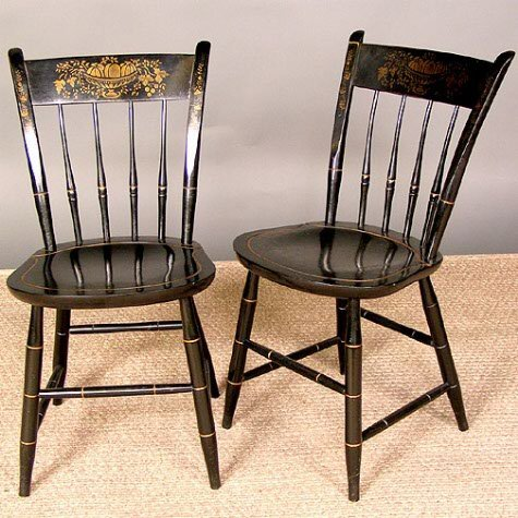 1137: PAIR OF HITCHCOCK CHAIRS.  Nichols and Stone Co.,