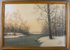 1304 RAPHAEL SENSEMAN WINTER WATERCOLOR Early to mid
