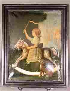 1452: AMERICAN PRIMITIVE HOBBY HORSE RIDER.  19th c.  O