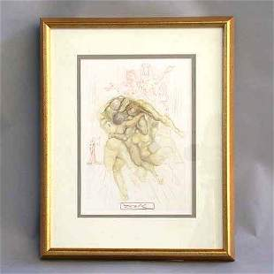 """1008 DALI LITHOGRAPH. Canto 8 from """"The"""