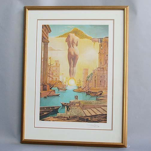 1012: 1012 DALI NUDE IN HARBOR PRINT. Signed
