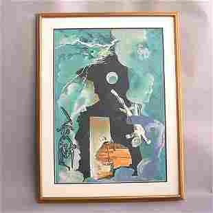 1013 DALI PRINT OF FIGURES AND WEATHER.