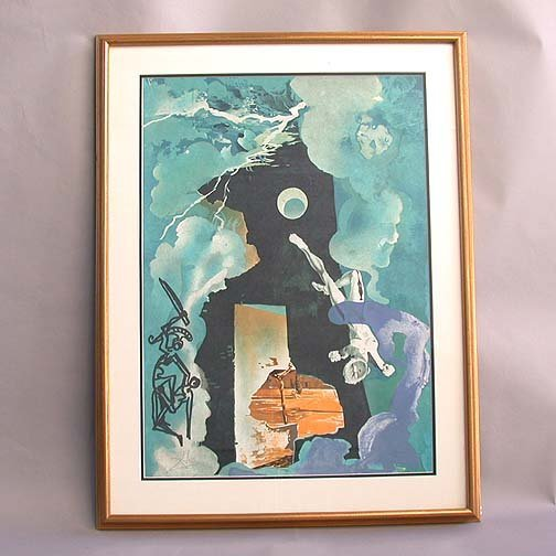1013: 1013 DALI PRINT OF FIGURES AND WEATHER.