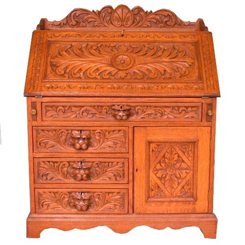 1515: 1515 CARVED SLANT FRONT DESK. c.1880. C