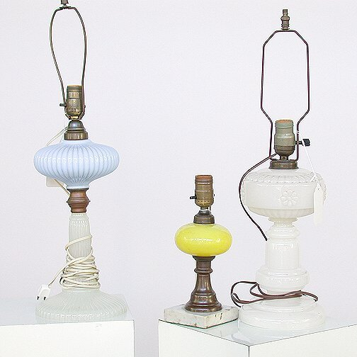 1551: 1551 ASSORTED GLASS TABLE LAMPS. One li