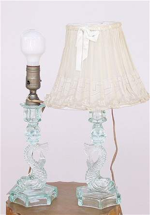 1553 PRESSED GLASS LAMPS. Fish form.