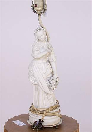 1554 BISQUE FIGURAL TABLE LAMP. Woman w
