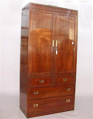 1558 CHERRY CAMPAIGN STYLE LINEN CHEST.