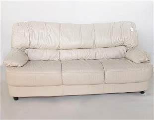 1569 CONTEMPORARY BEIGE LEATHER SOFA.
