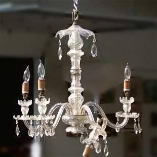1571 CRYSTAL CHANDELIER. Five branch wi