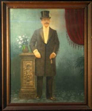 PASTEL OVER PRINT OF A MAN