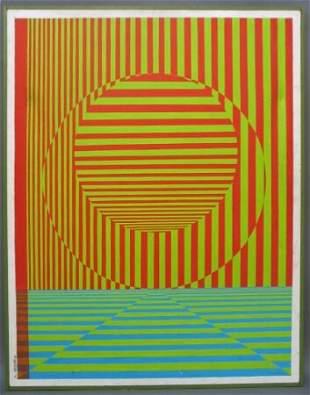 P. SETZER OP-ART PAINTING 1976 Oil on canvas