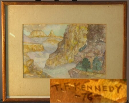 1396: TF KENNEDY SIGNED MOUNTAIN WATERCOLOR