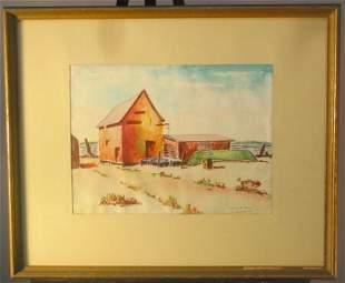 MILTON E. ROSEN WATERCOLOR BEACH HOUSE