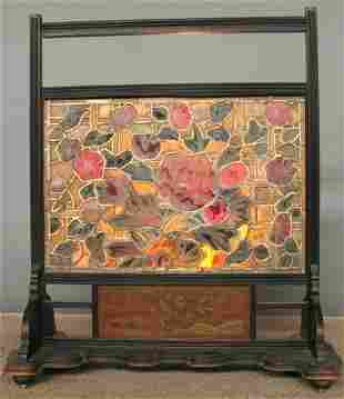 PAINTED AND STAIN GLASS SCREEN