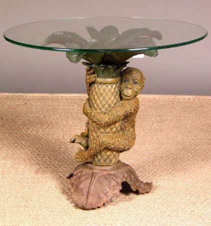 2010: CAST RESIN MONKEY TABLE.  Recently made in China.