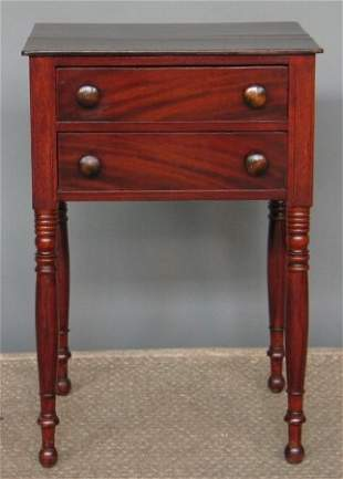 SHERATON TWO DRAWER STAND. Mahogany and pine sec