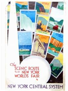 2062: NEW YORK SCENIC ROUTE WORLDS FAIR POSTER.  1939.