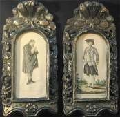 2252 PAIR OF FRENCH HC ENGRAVINGS  Style of 18th c