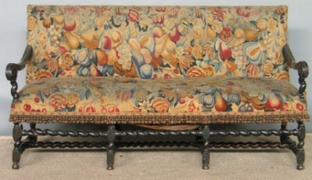2011: AS-IS CARVED BARLEY TWIST SETTEE.  Circa 1900, wi