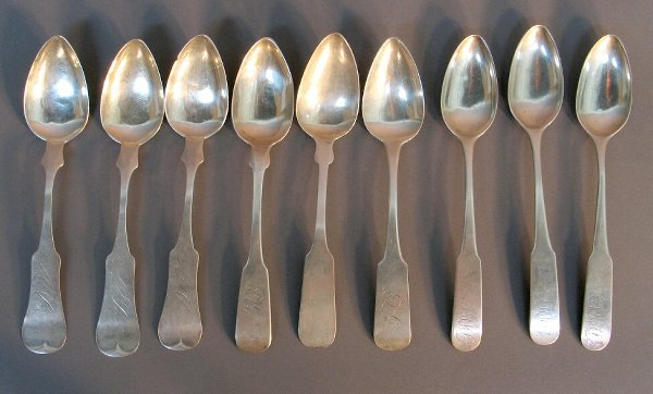 2014: ASST. OF 9 PCS STERLING SILVER FLATWARE SPOONS.