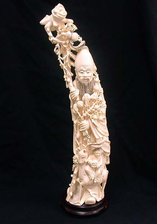 2001: 2001 CARVED IVORY OLD PHILOSOPHER. 20th