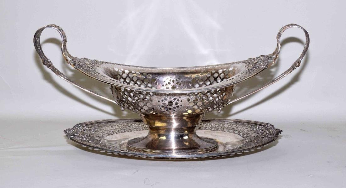 2pc STERLING RETICULATED 2-HANDLE BREAD BASKET WITH