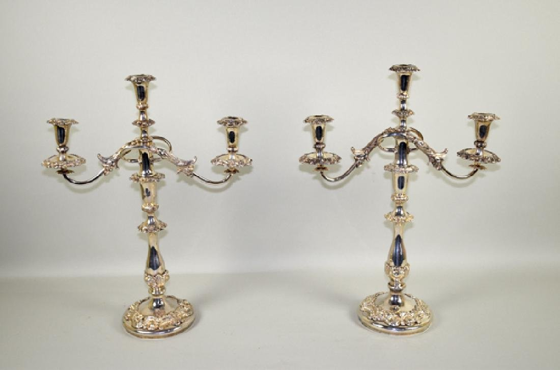 PAIR OF SILVER 2-ARM 3-LIGHT CANDELABRAS - 13.25''
