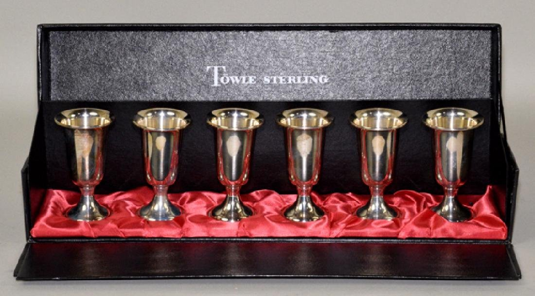 6pc TOWLE STERLING CORDIAL CUP SET IN FITTED BOX -
