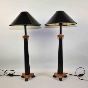 PAIR BIEDEMEIRE 20'' TABLE LAMPS - Pair of columnar