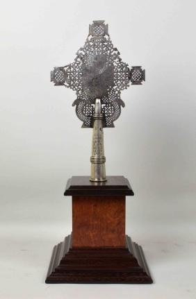 (1) ETHIOPIAN COPTIC SILVERED CROSS - Measures: With