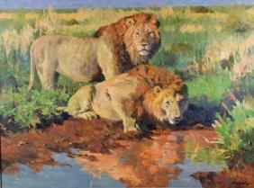 JOHN SWATSLEY (AMERICAN, 20th CENTURY) - ''Mara Lions'';