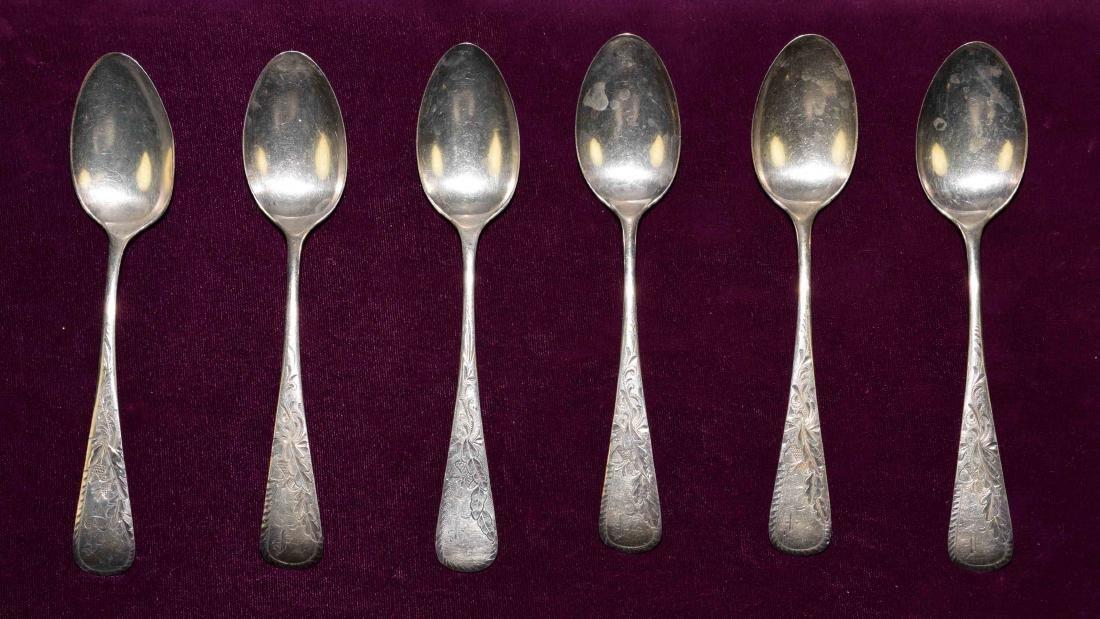 (6) GORHAM STERLING TEASPOONS CIRCA 1880 - Total weight