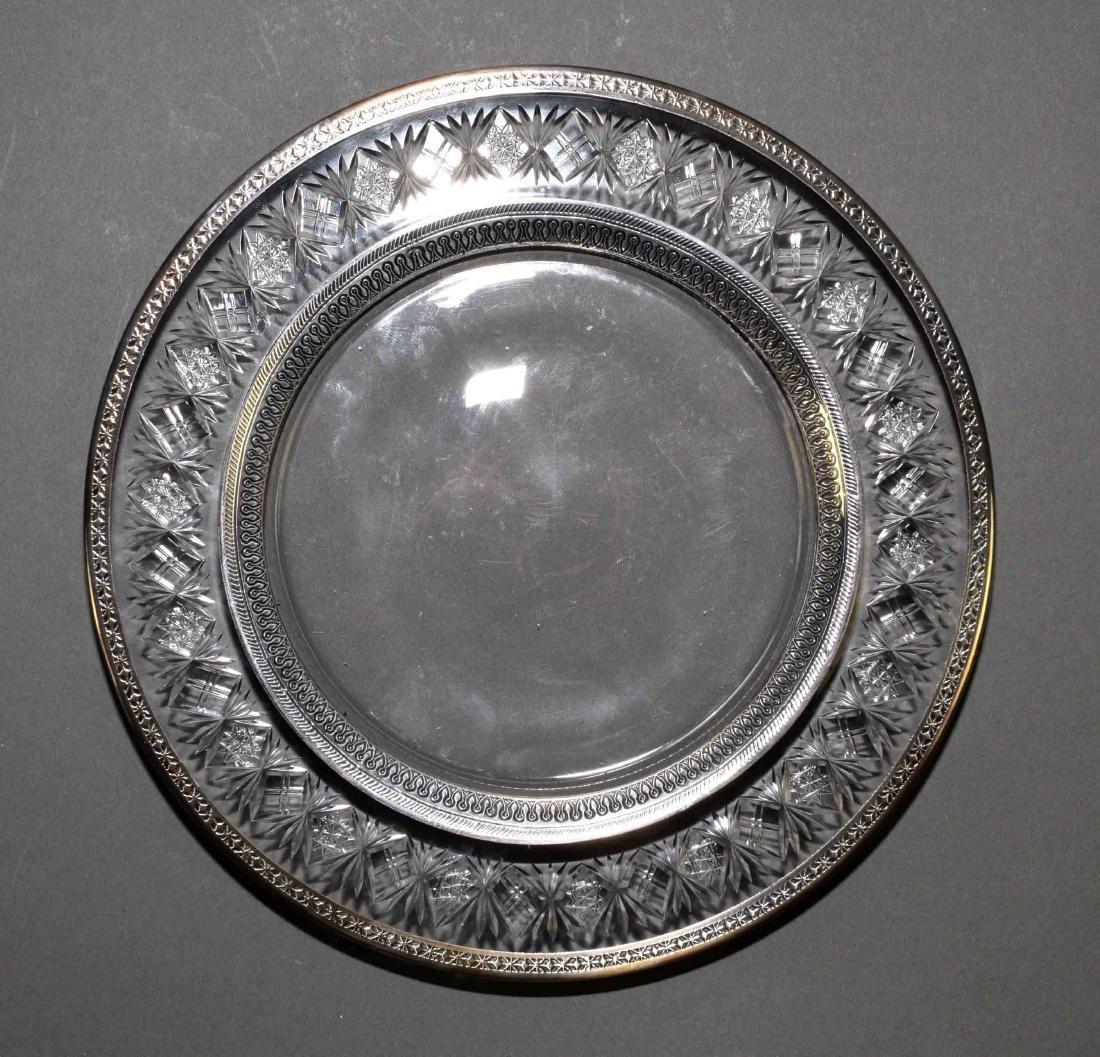 (8) SILVER RIM WHEEL CUT 8'' DESSERT PLATES -