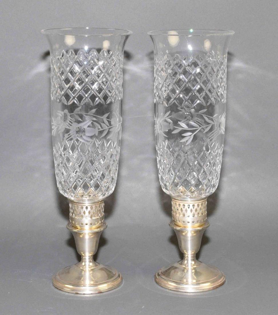 VINTAGE STERLING HURRICANE LAMPS - Etched glass shades