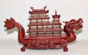 CHINESE CARVED WOOD DRAGON BOAT BOX - body of boat is