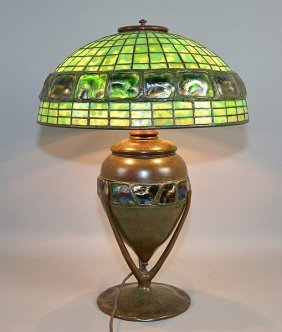 TIFFANY STUDIOS GREEN TURTLE BACK LAMP WITH LEADED SHAD