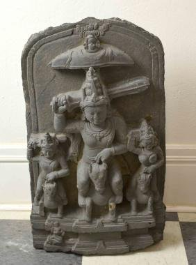 INDIAN TEMPLE STELE. 12-14th c. Indian temple carving,