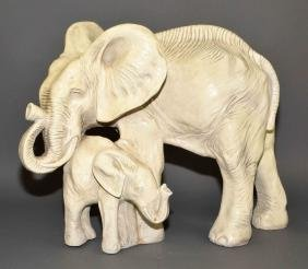 CHALKWARE ELEPHANT SCULPTURE - Mother and baby elephant