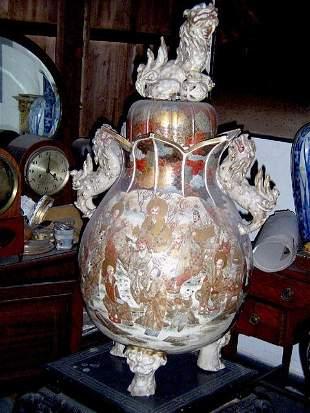 Large ceramic Satsuma vase 40i H