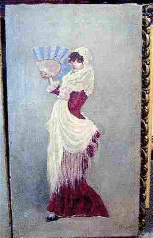 Oil paint signed in Cadiz Spain in 1885