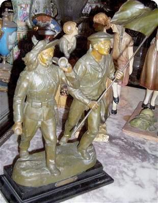 WW I War Italian bronze soldiers
