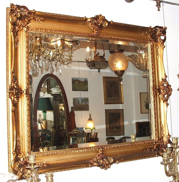1164: French heavily carved mirror beveled gilt