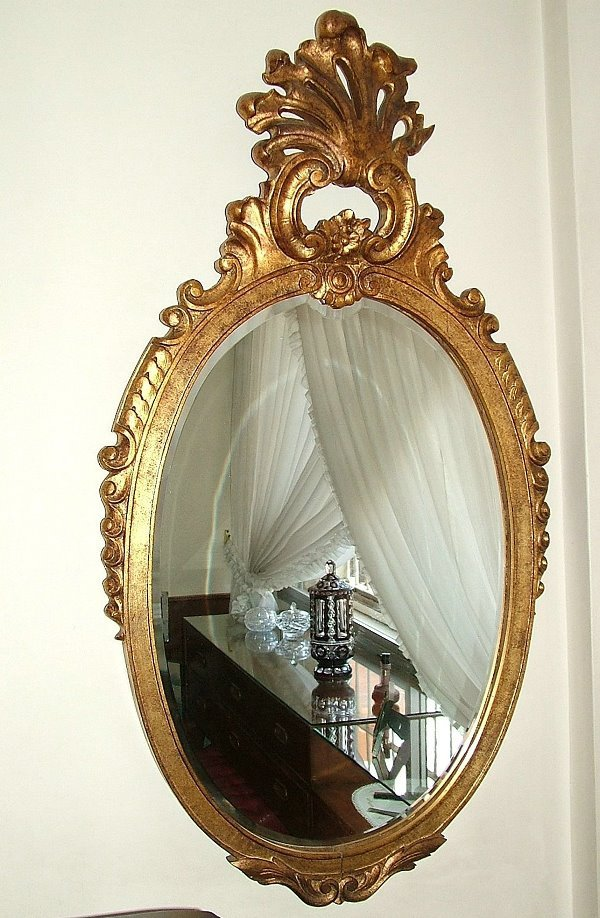 1203: French Mirror  carved wood and gilt