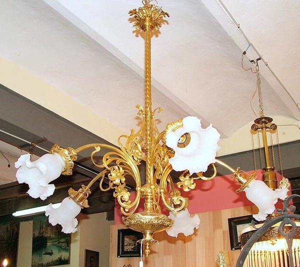 21015: French bronze Art  Nouveau 5L chandelier