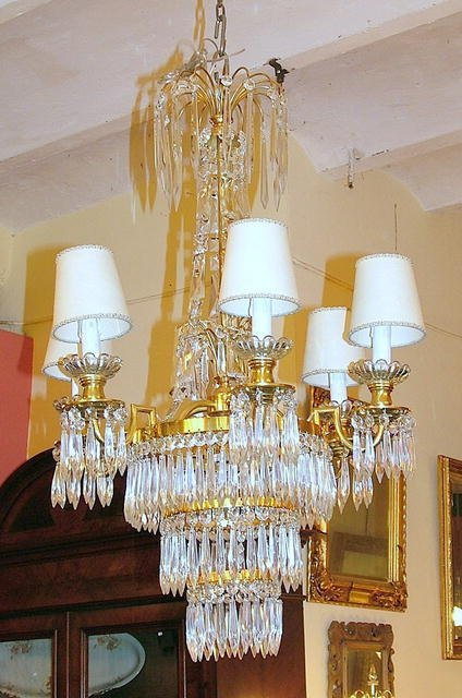 21016: French bronze and crystal  7L chandelier