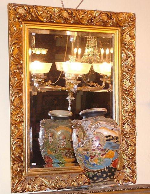 21027: Big French Mirror  carved frame gilt