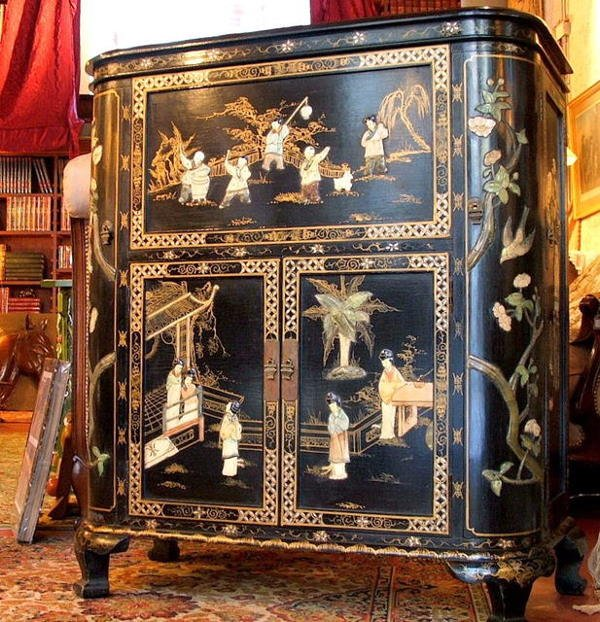 21036A: Chinese Cabinet  lacquer Jade carvings