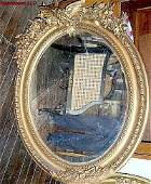 3620: Important Empire Oval mirror carved wood