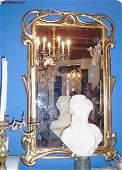 3665: Large Art Nouveau French Mirror